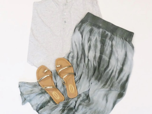 Scoop Tie Dye Skirt, Strappy Sandals and Time and Tru Henley Tank