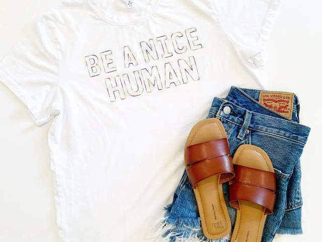 """Be A Nice Human"" Tee with Levi's Shorts and Time and Tru Sandals"
