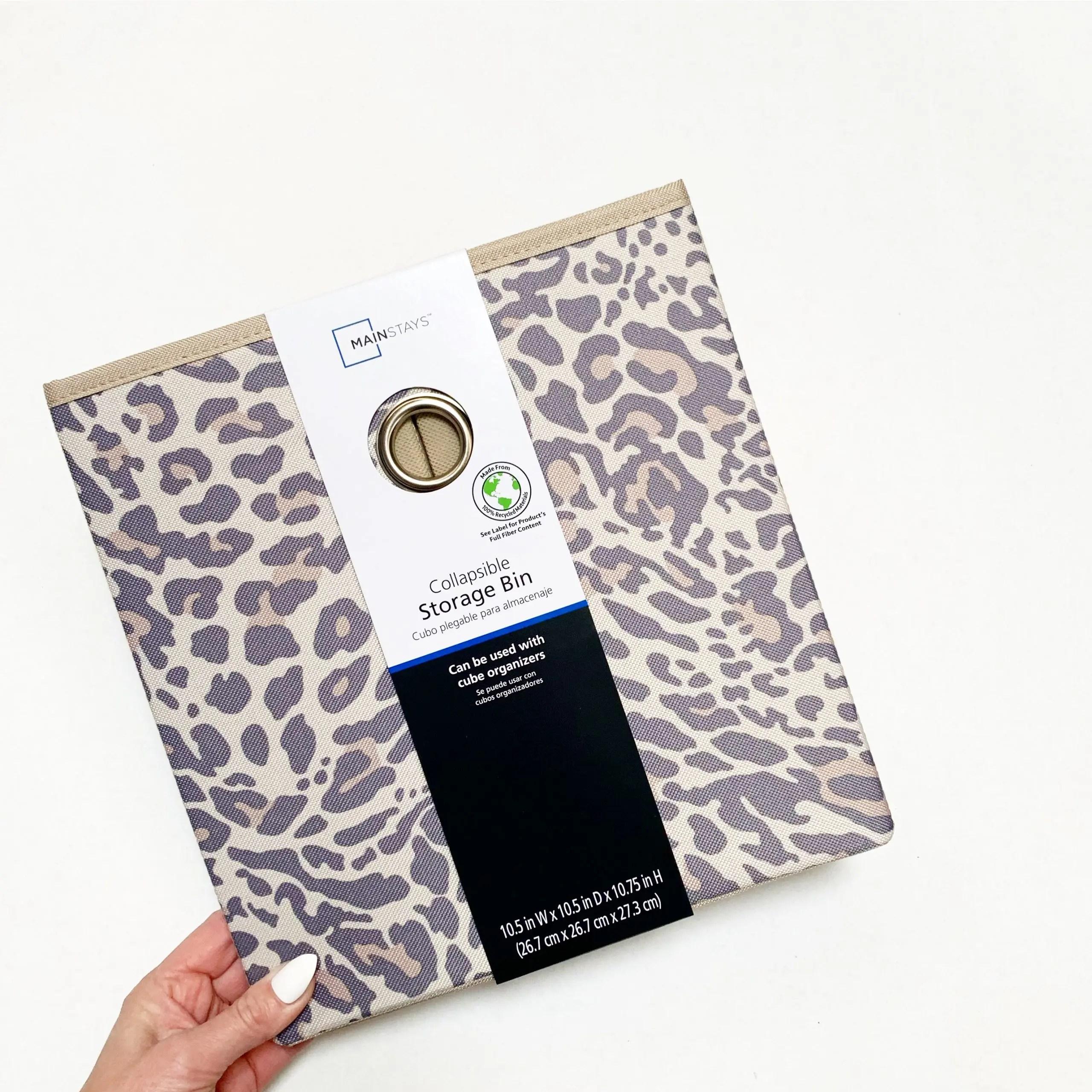 mainstays leopard print cube storage bin