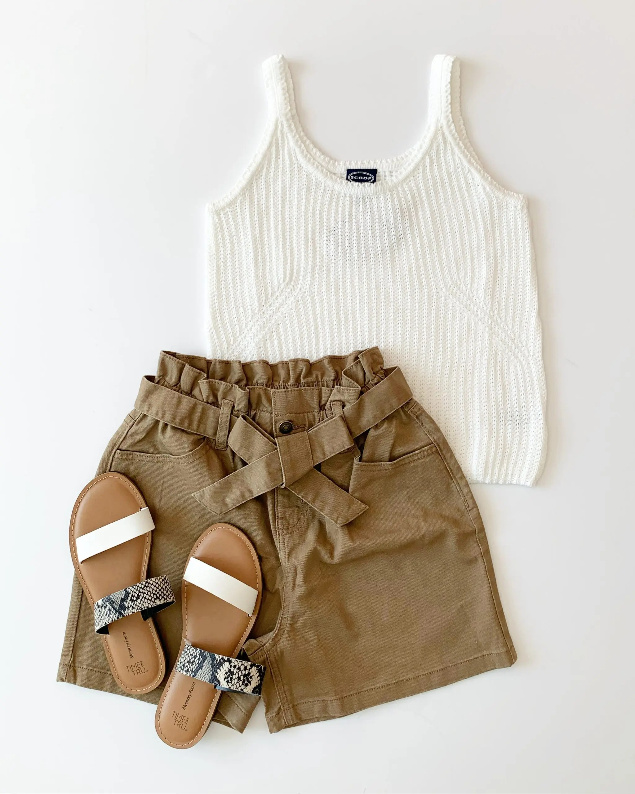 Time and Tru Paper Bag Shorts, Scoop Sweater Tank, and snake print Slide Sandals