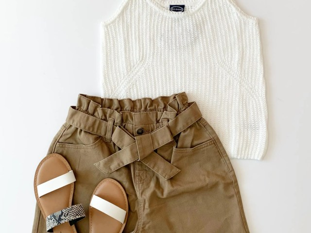 Time and Tru Paper Bag Shorts, Scoop Sweater Tank, and Slide Sandals