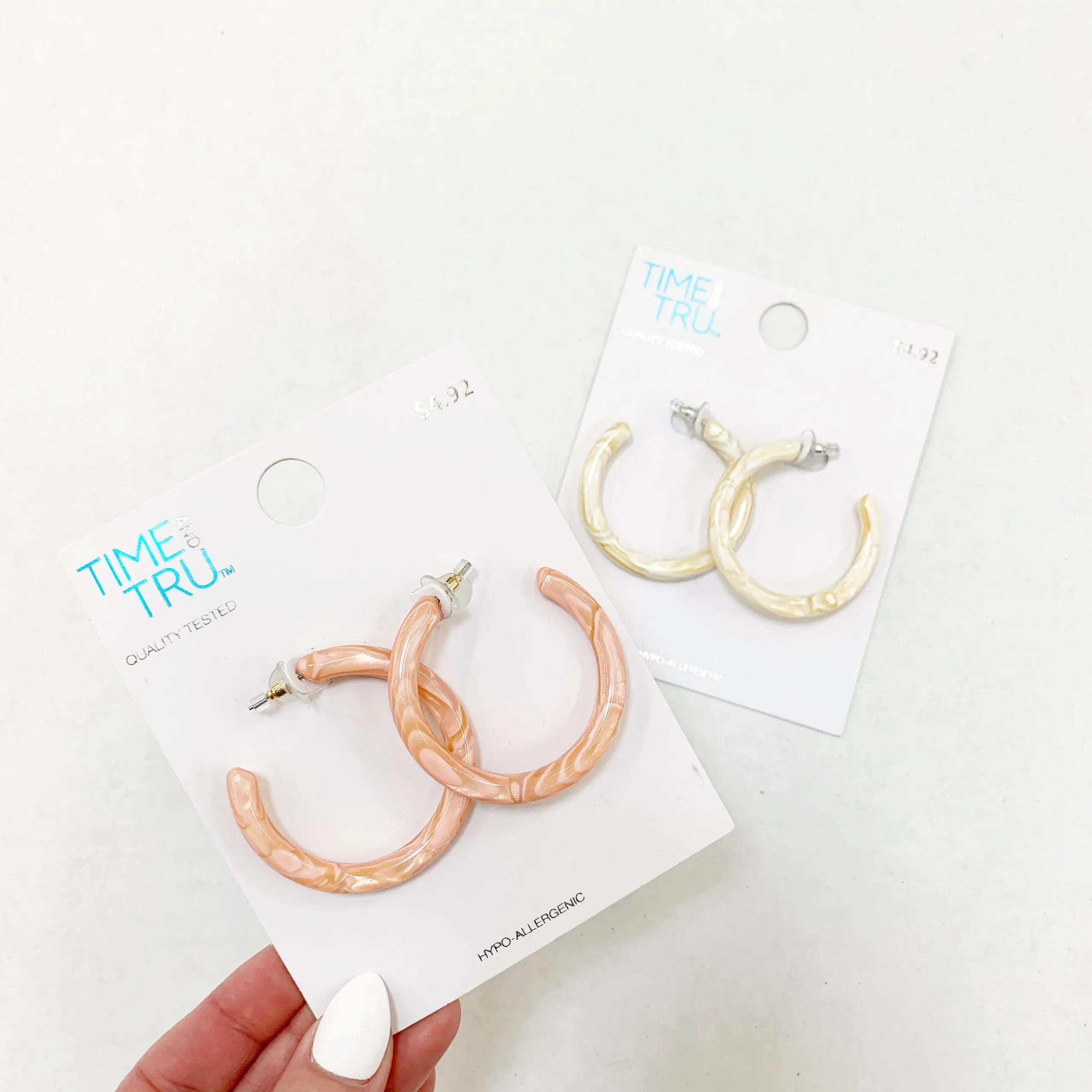 time and tru marbled resin hoop earrings