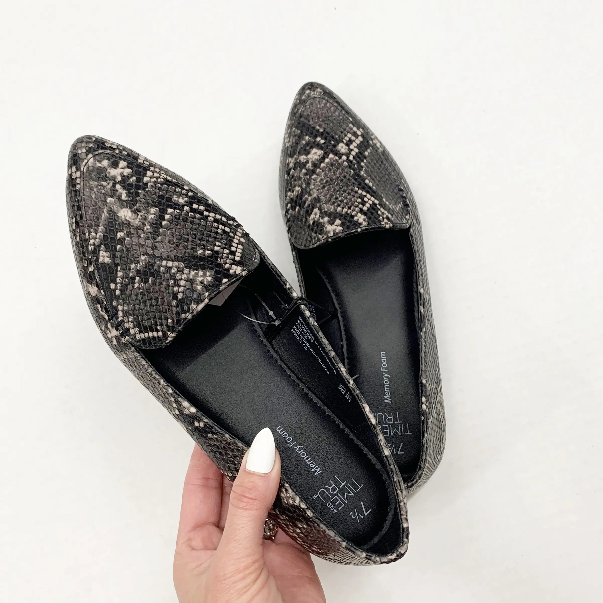 time and tru snake print feather flat - steven madden dupe