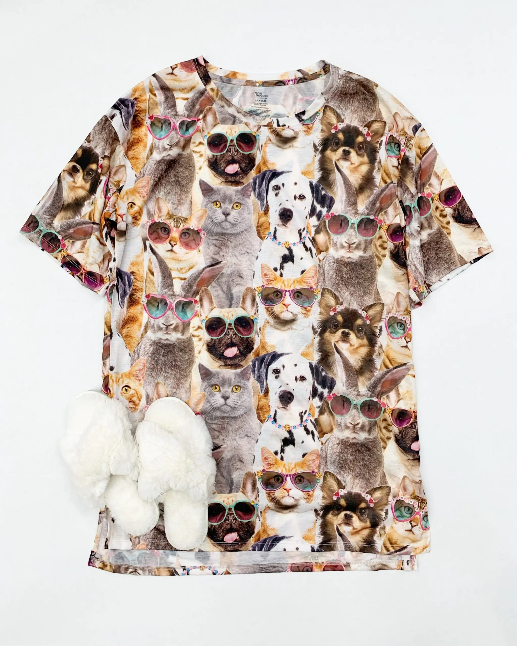 secret treasures animal sleep shirt and fuzzy slippers