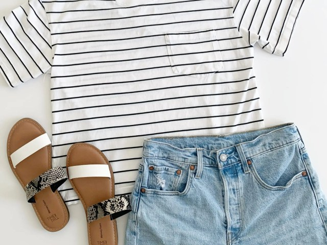 Time and Tru Boyfriend Tee and Levi's 501 Shorts