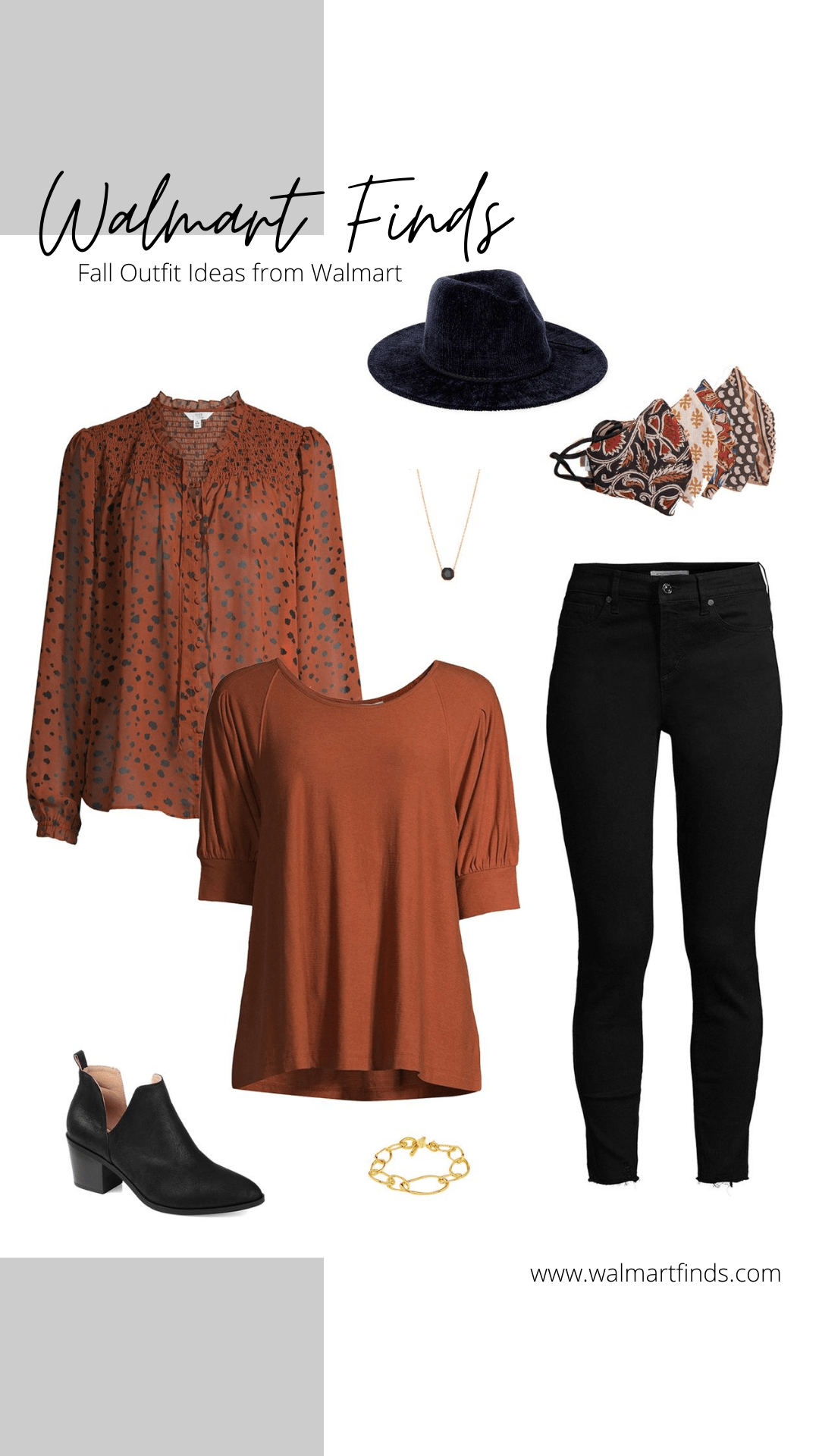fall outfit ideas from walmart - time and tru peasant top, fedora + new face masks