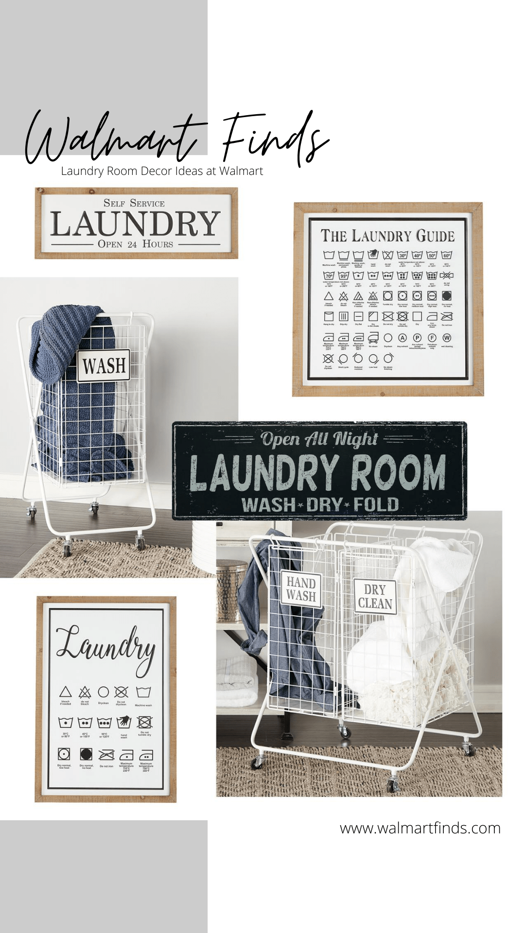 laundry decor items at walmart - walmart laundry signs and metal laundry basket
