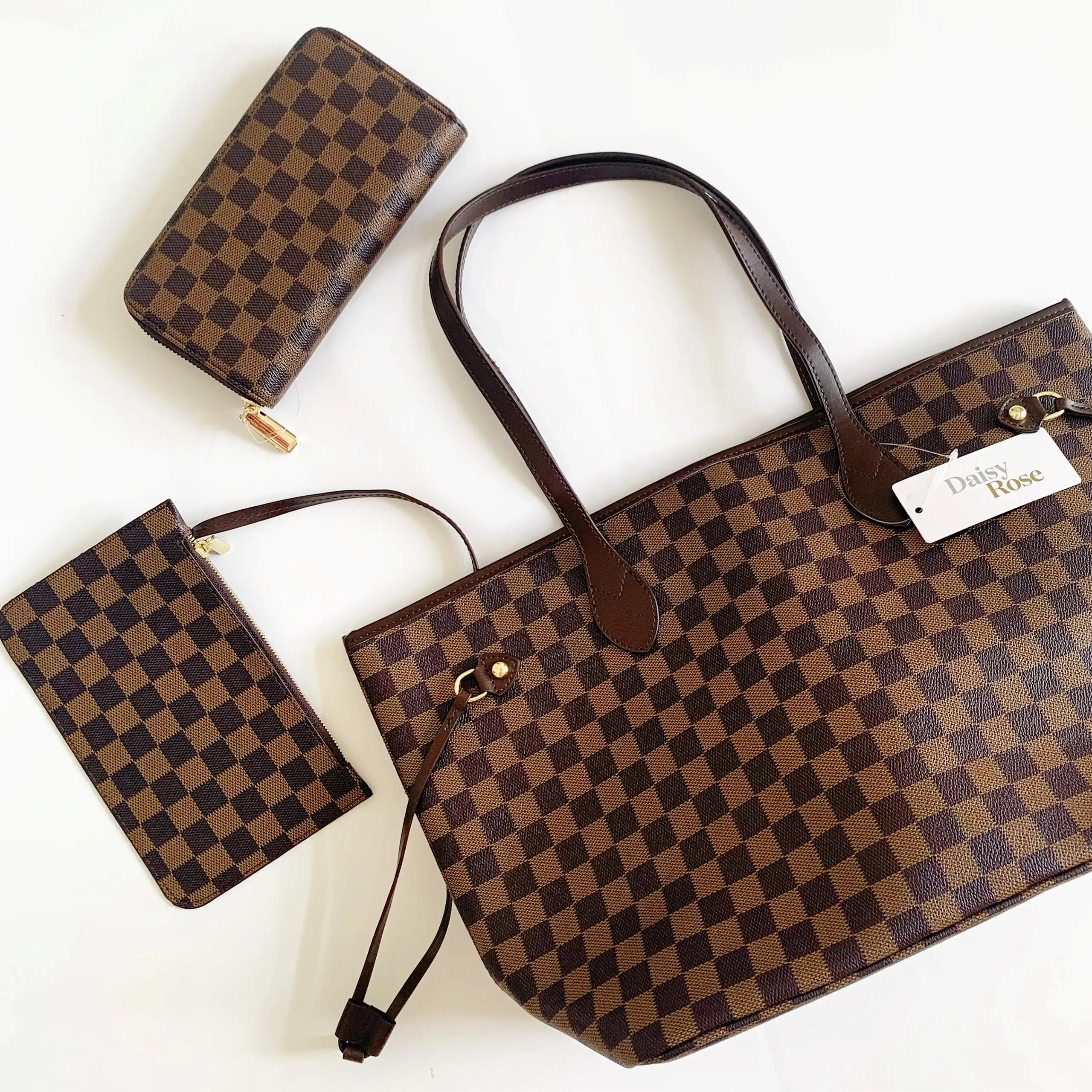 daisy rose checkered tote bag and wallet - LV dupe