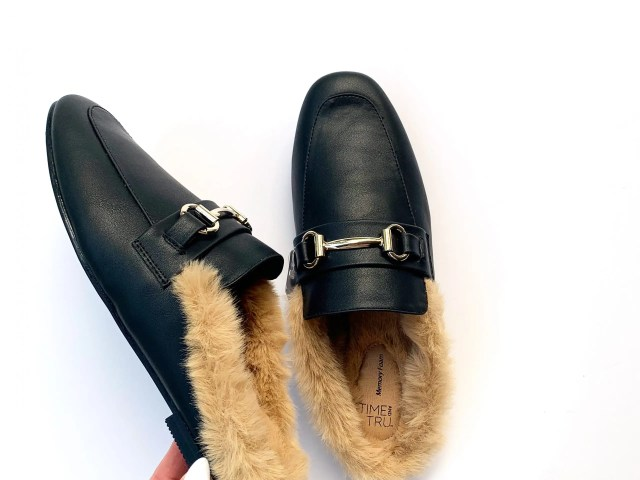 Time and Tru Horsebit Faux Fur Mules