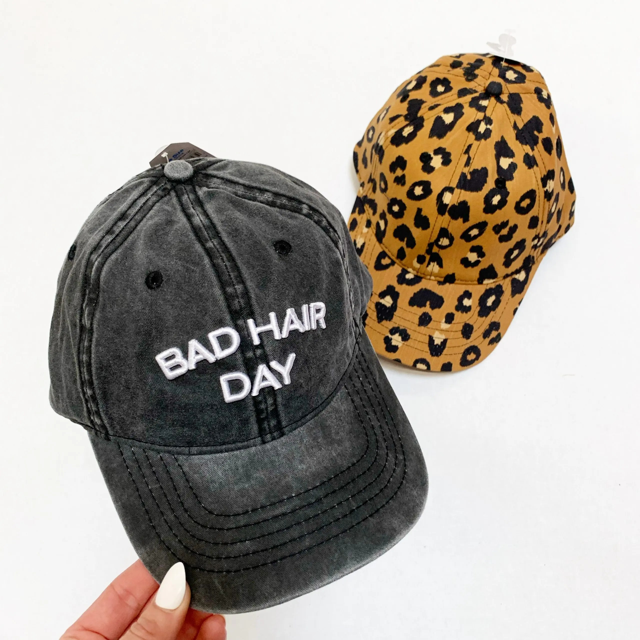 """time and tru """"bad hair day"""" cap and leopard print cap"""