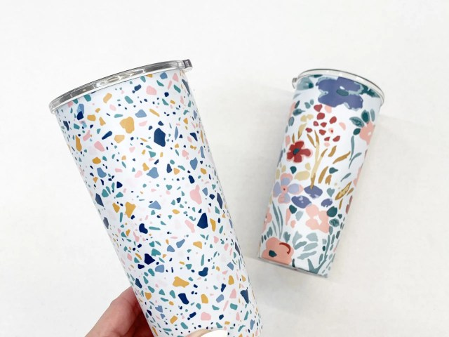 Mainstays 20oz Terrazzo and Floral Tumblers