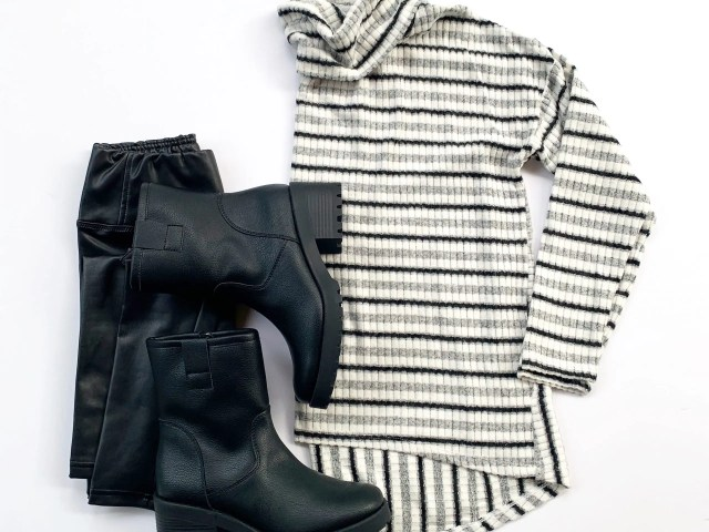 Time and Tru Cowl Neck Sweater, Scoop Vegan Leather Leggings and Lug Boots