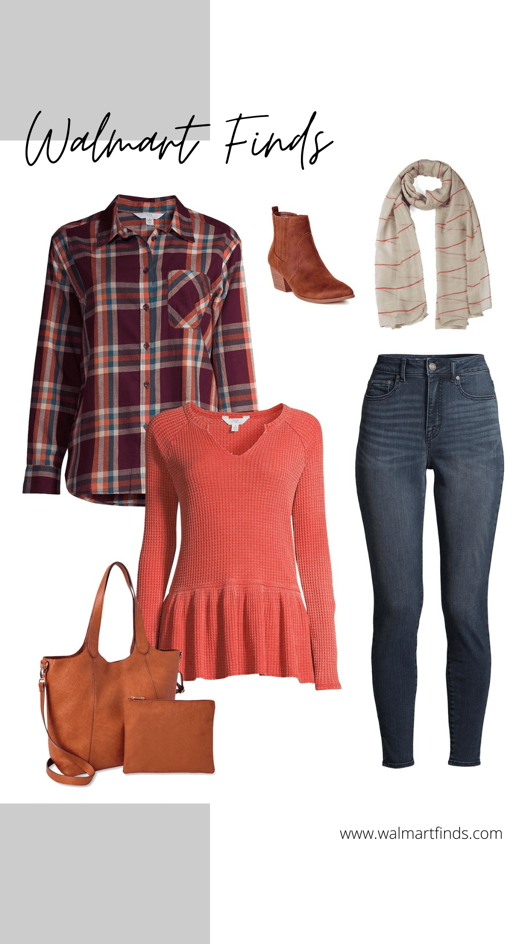 time and tru plaid shirt and burnt orange peplum top - fall outfit ideas