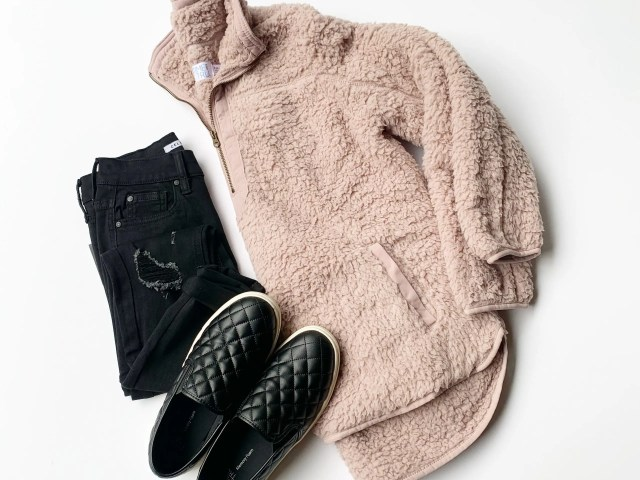 Time and Tru Sherpa, Quilted Slip-Ons and Celebrity Pink Skinny Jeans