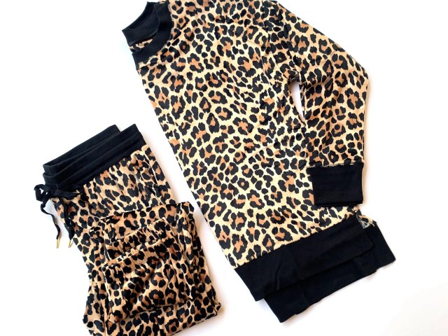 Secret Treasures Velour Pajama Set – Leopard Print