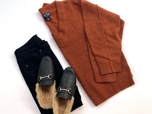 Scoop V-Neck Sweater, Sofia Vergara Jeans, and Time and Tru Faux Fur Mules
