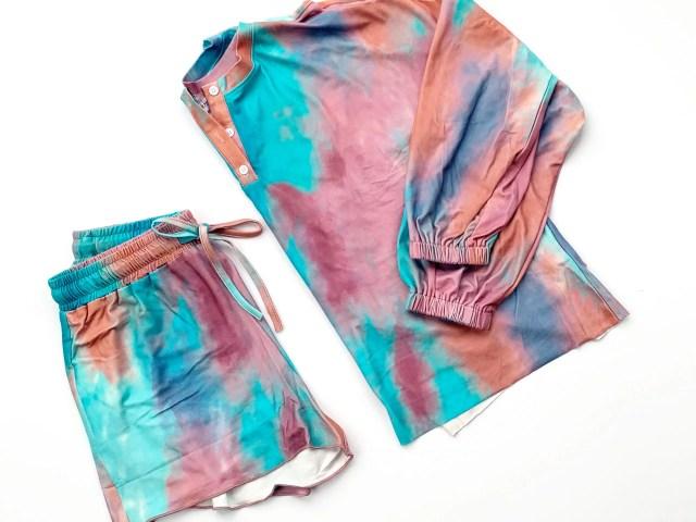 Ever-Pretty Purple Tie Dye Pajama Set