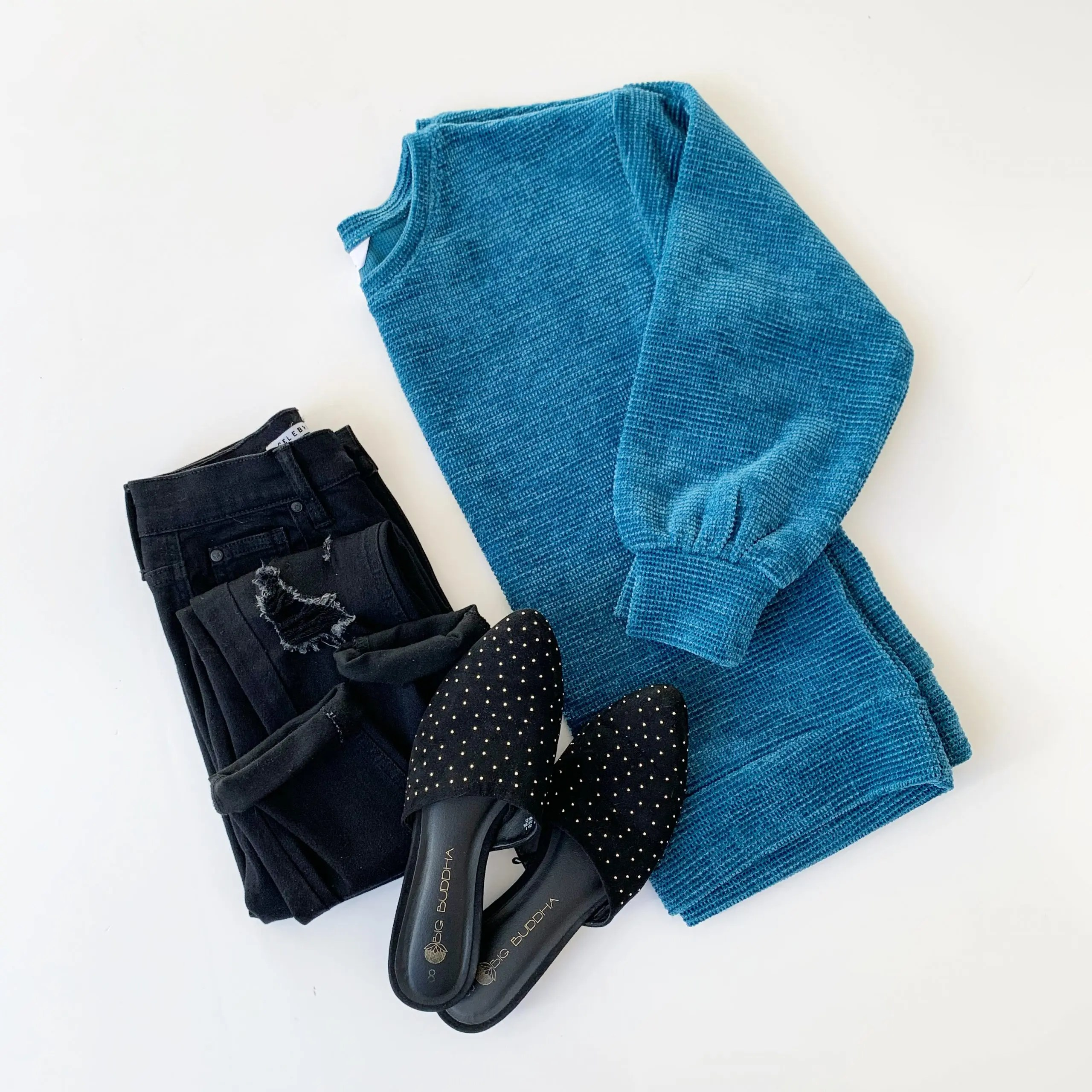 Time and Tru Chenille Pullover, Celebrity Pink Skinny Jeans, and black studded Mules