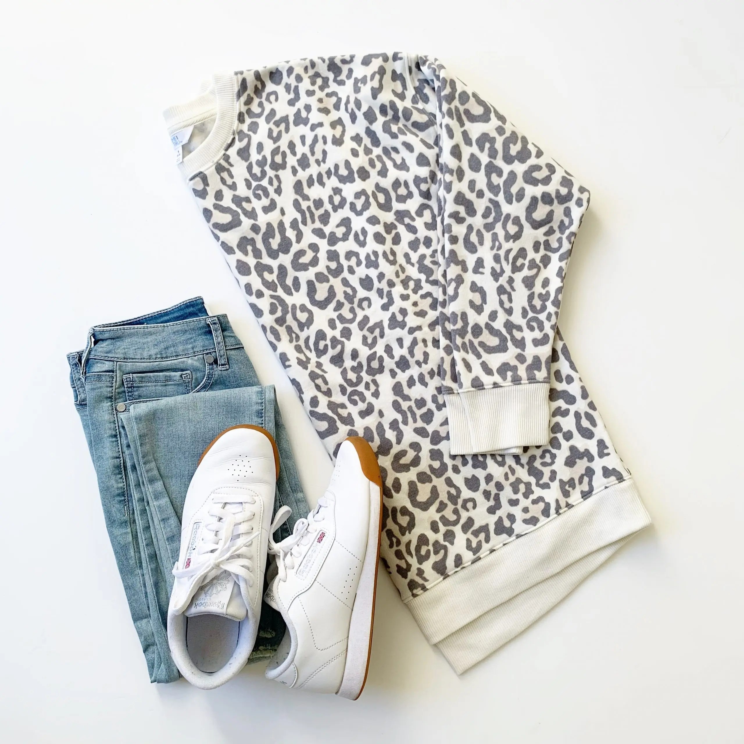 Time and Tru Crewneck Tunic Sweatshirt, Sofia Jeans and Reebok Princess Sneakers