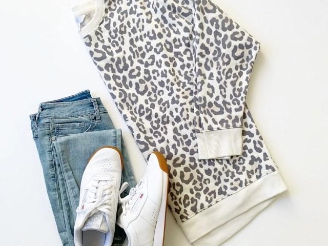 Time and Tru Crewneck Tunic Sweatshirt, Sofia Jeans and Reebok Princess Sneakers