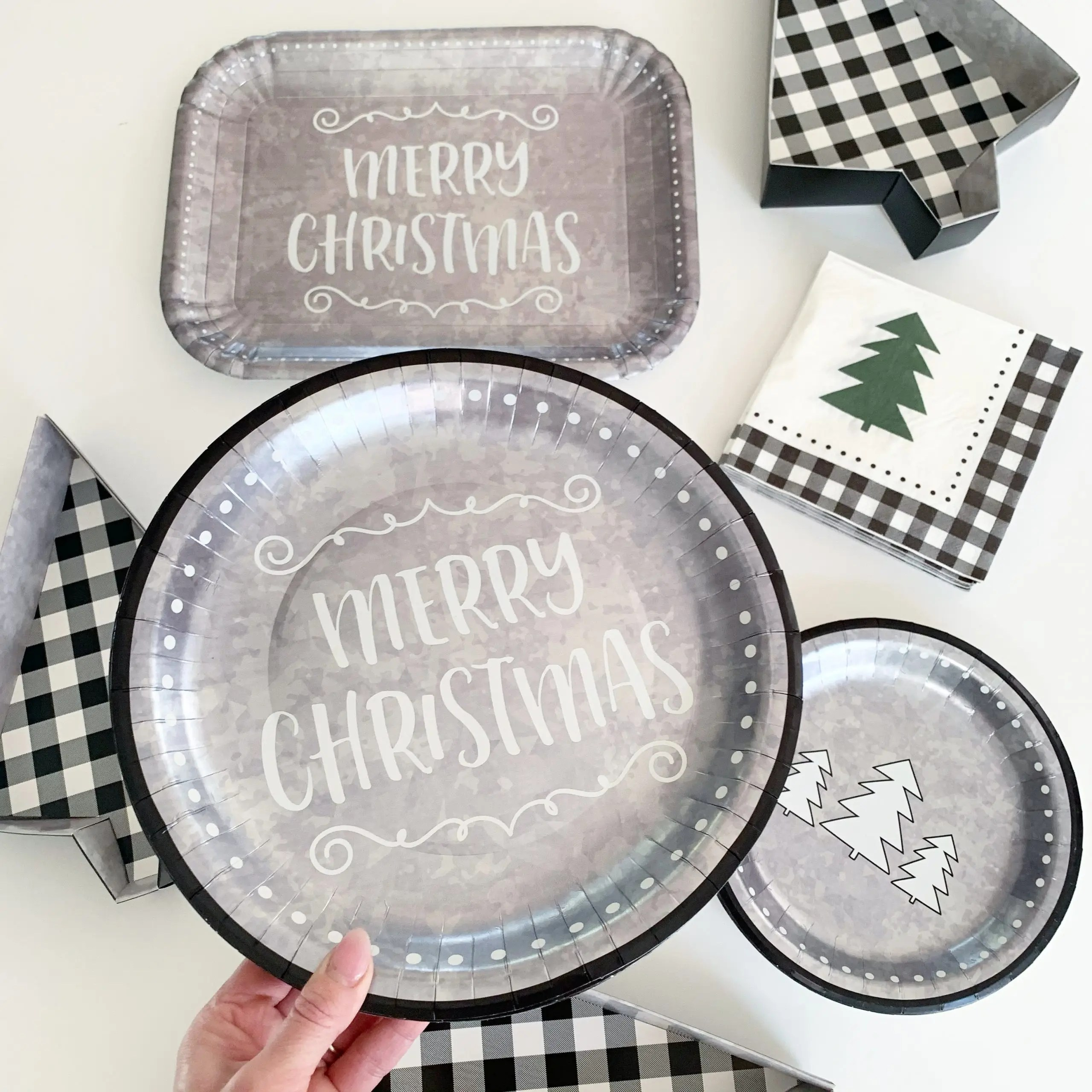 Holiday Time 64 Piece Galvanized Tree Design Holiday Paper Tableware Party Pack