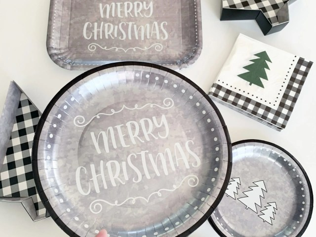 Holiday Time Galvanized Holiday Paper Tableware and Serveware Set