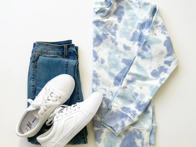 Time and Tru Tie Dye Sweatshirt and Retro Sneakers