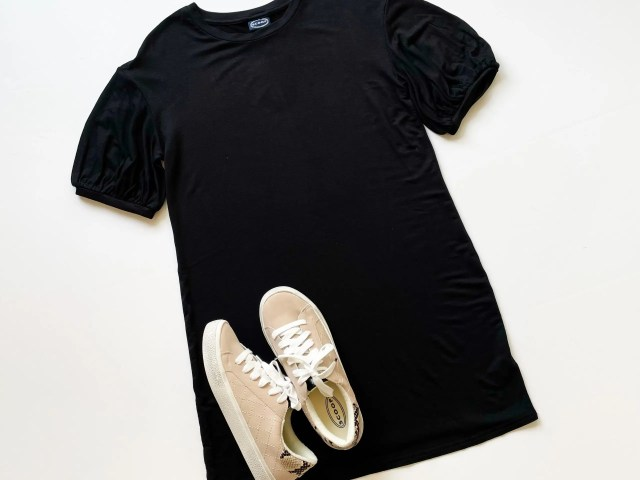 Scoop Balloon Sleeve T-Shirt Dress and Quilted Sneakers