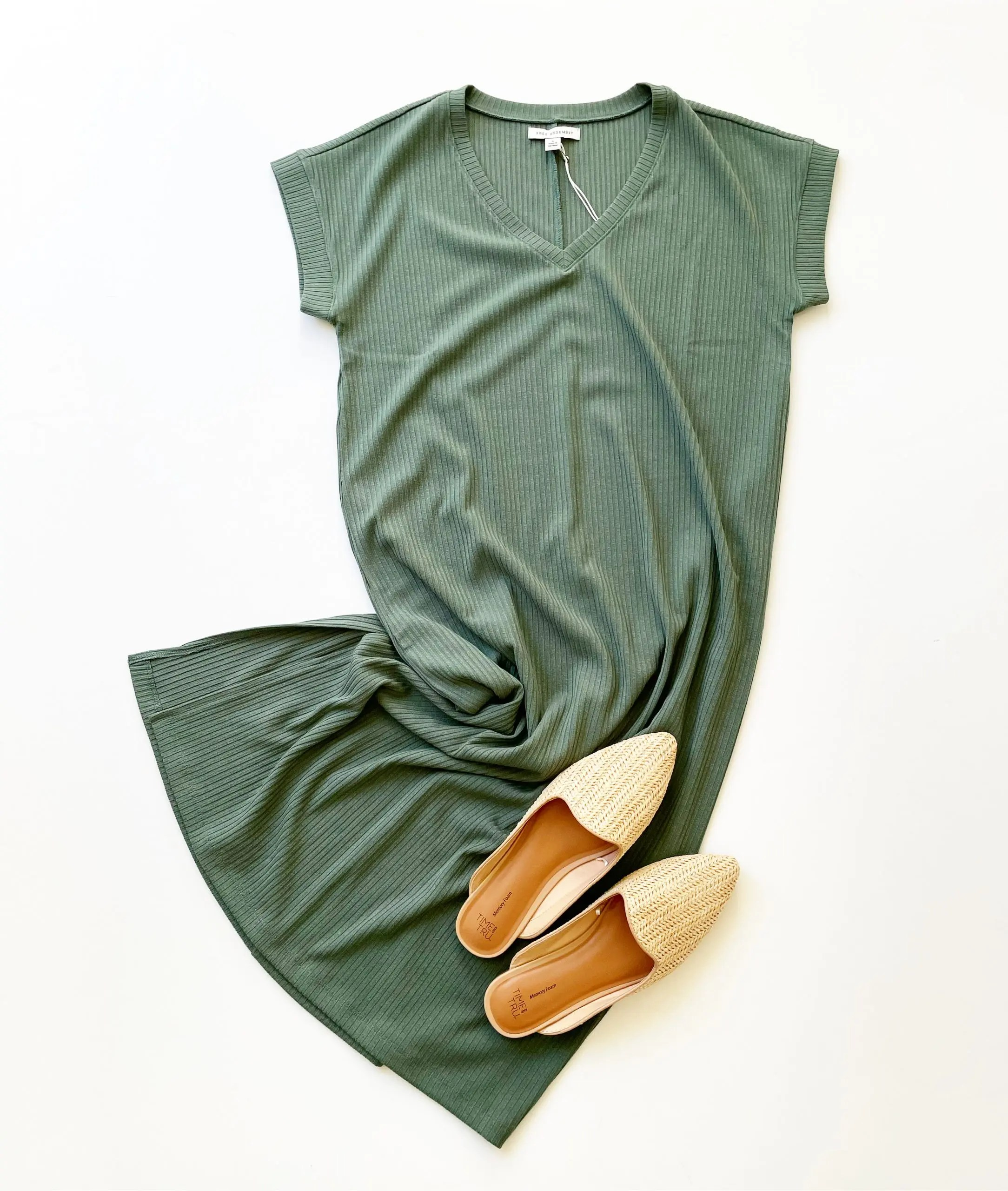 Free Assembly V-Neck Midi Dress and Time and Tru Woven Mules