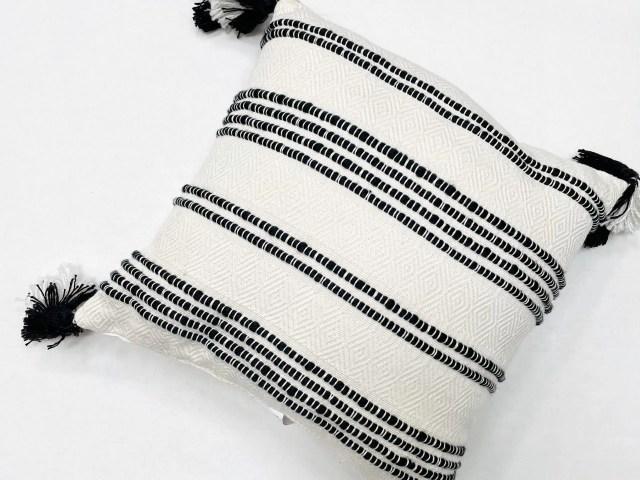Better Homes & Gardens Woven Stipe Black & White Outdoor Pillow