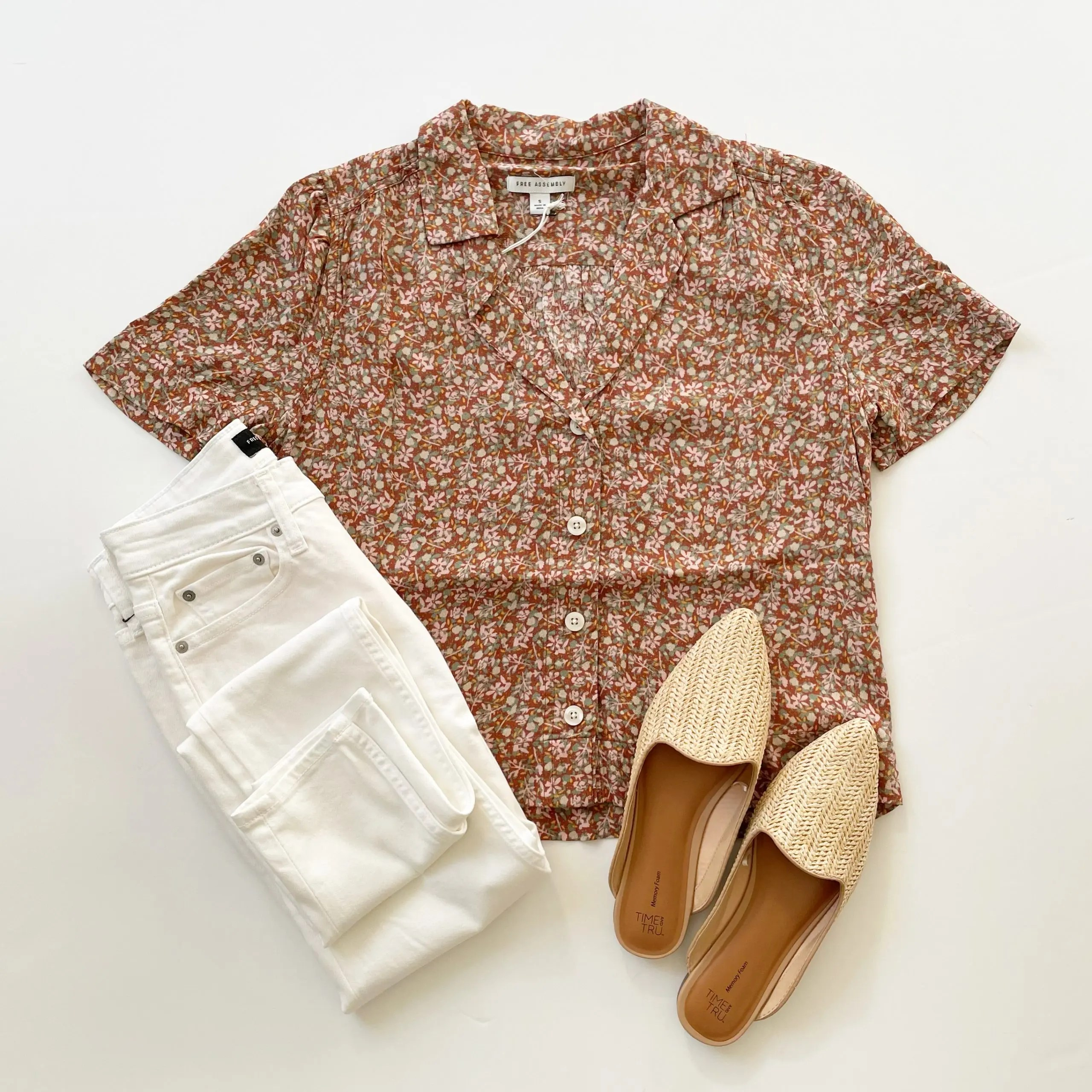 Free Assembly Short Sleeve Camp Shirt and High Rise Skinny Jeans and time and tru woven mules