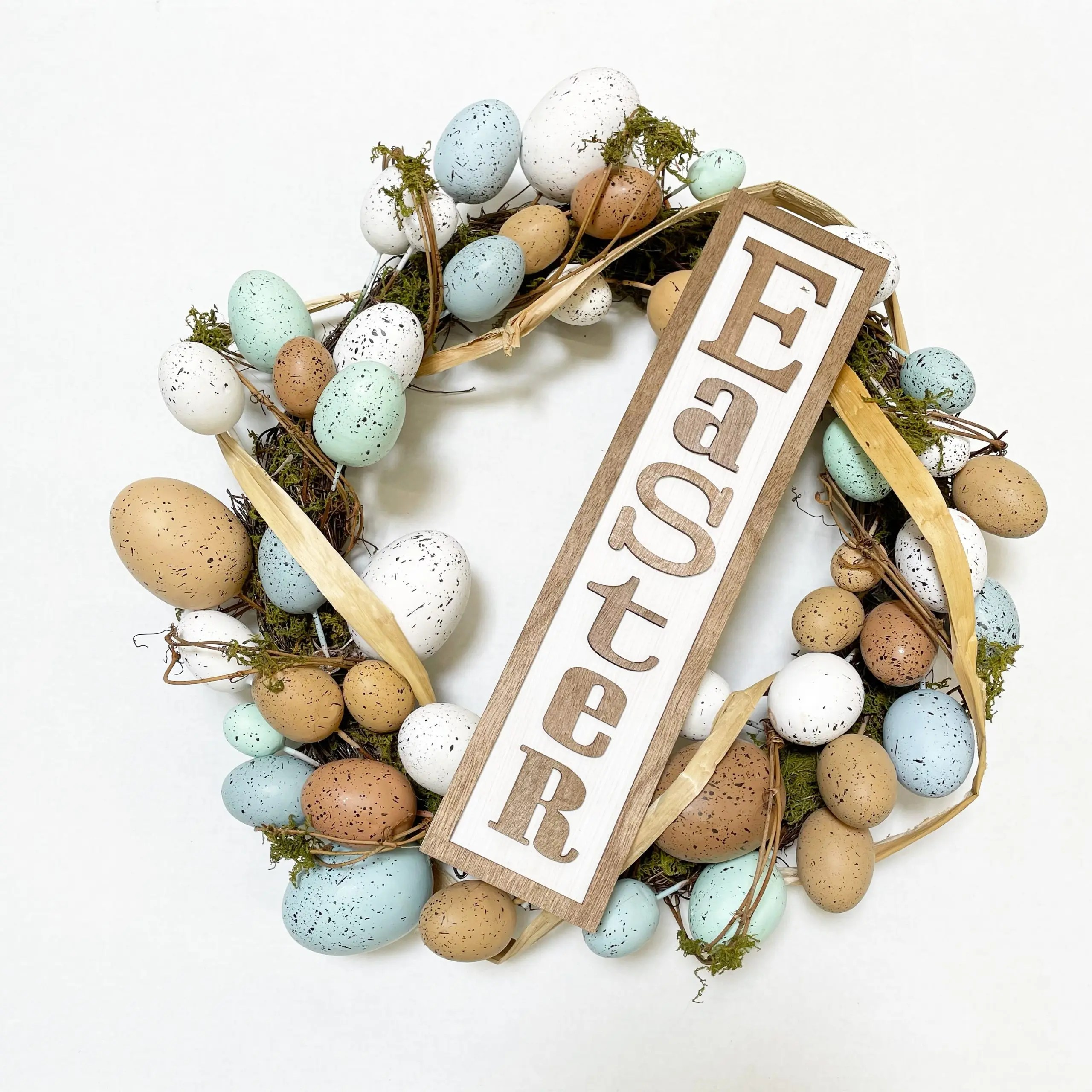 "Way to Celebrate 20"" Easter Natural Egg Wreath"