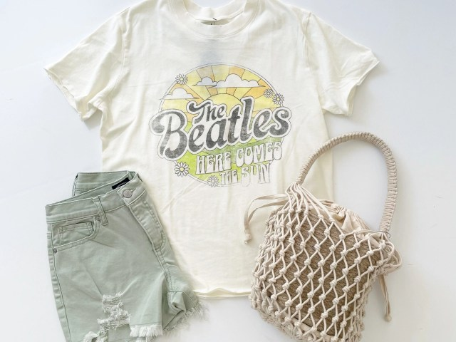 Scoop Beatles Graphic Tee, Retro Boy Shorts and Macrame Bucket Bag