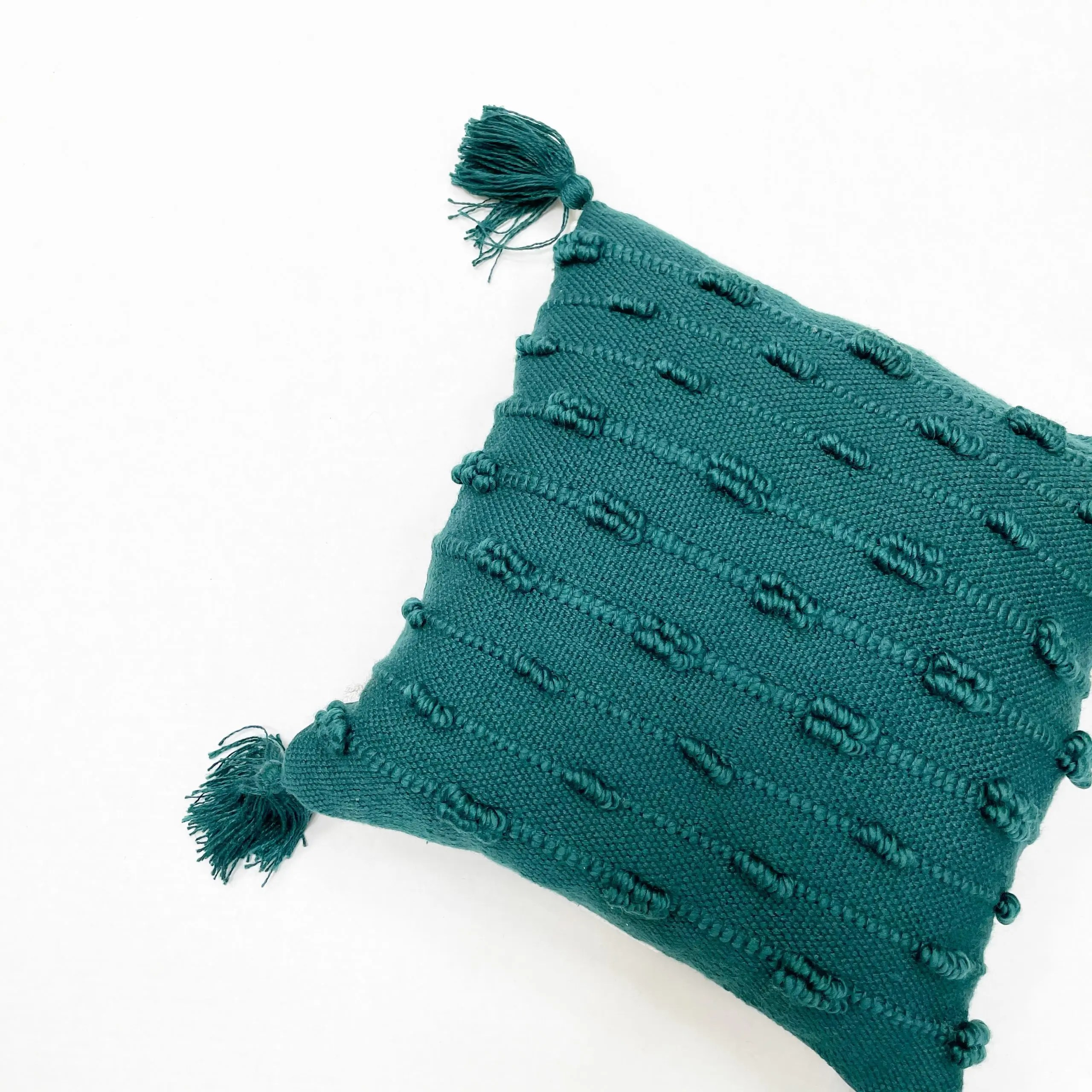 Better Homes & Gardens Teal Bobble Stripe Outdoor Toss Pillow
