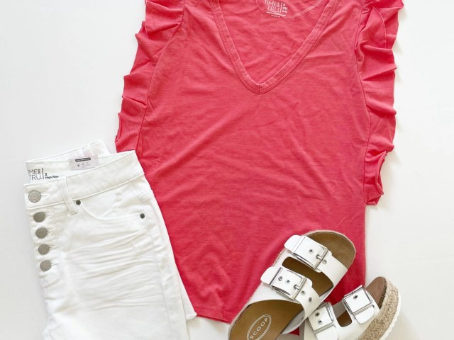 Time and Tru Ruffle Sleeve Tank and 5-Button Shorts + Scoop Espadrille Sandals