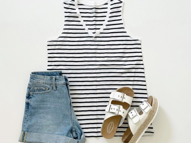 Time and Tru V-Neck Pocket Tank, Free Assembly Cuff Jean Shorts and Scoop Espadrille Sandals
