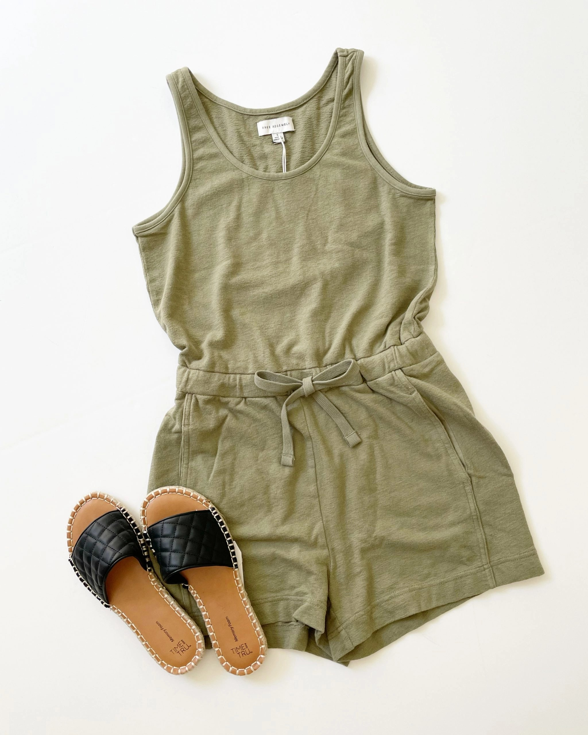 Free Assembly Women's Scoop Neck Romper and Time and Tru Quilted Slides