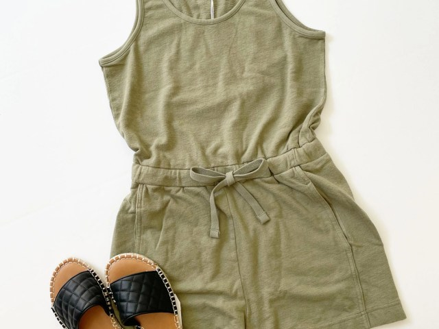 Free Assembly Scoop Neck Romper and Time and Tru Quilted Slides