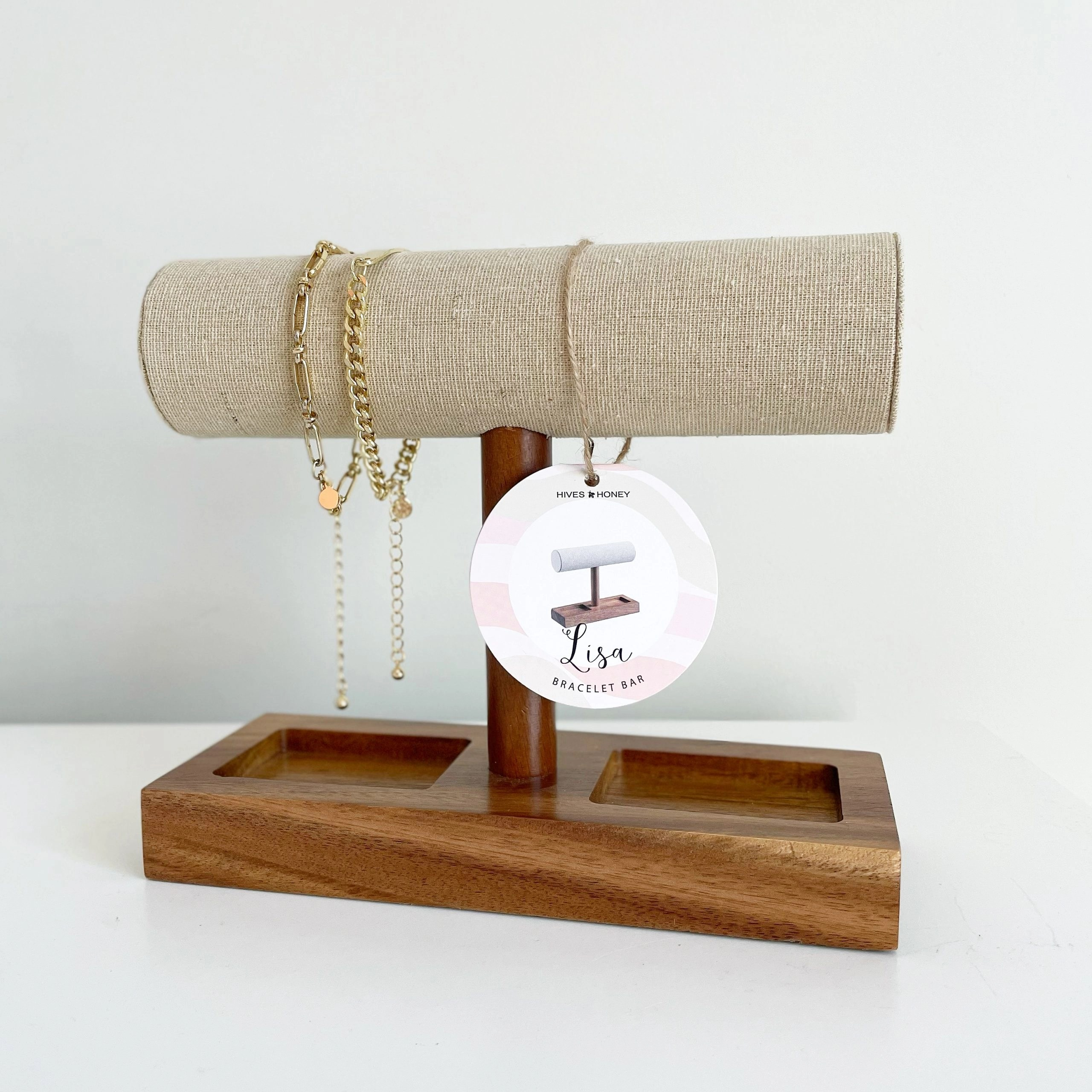 Hives and Honey Lisa Jewelry Organizer Display Stand- Bracelet and Watch Holder Display Stand, Natural Linen T-Bar Table Top Jewelry Tower, and Scoop bracelet set