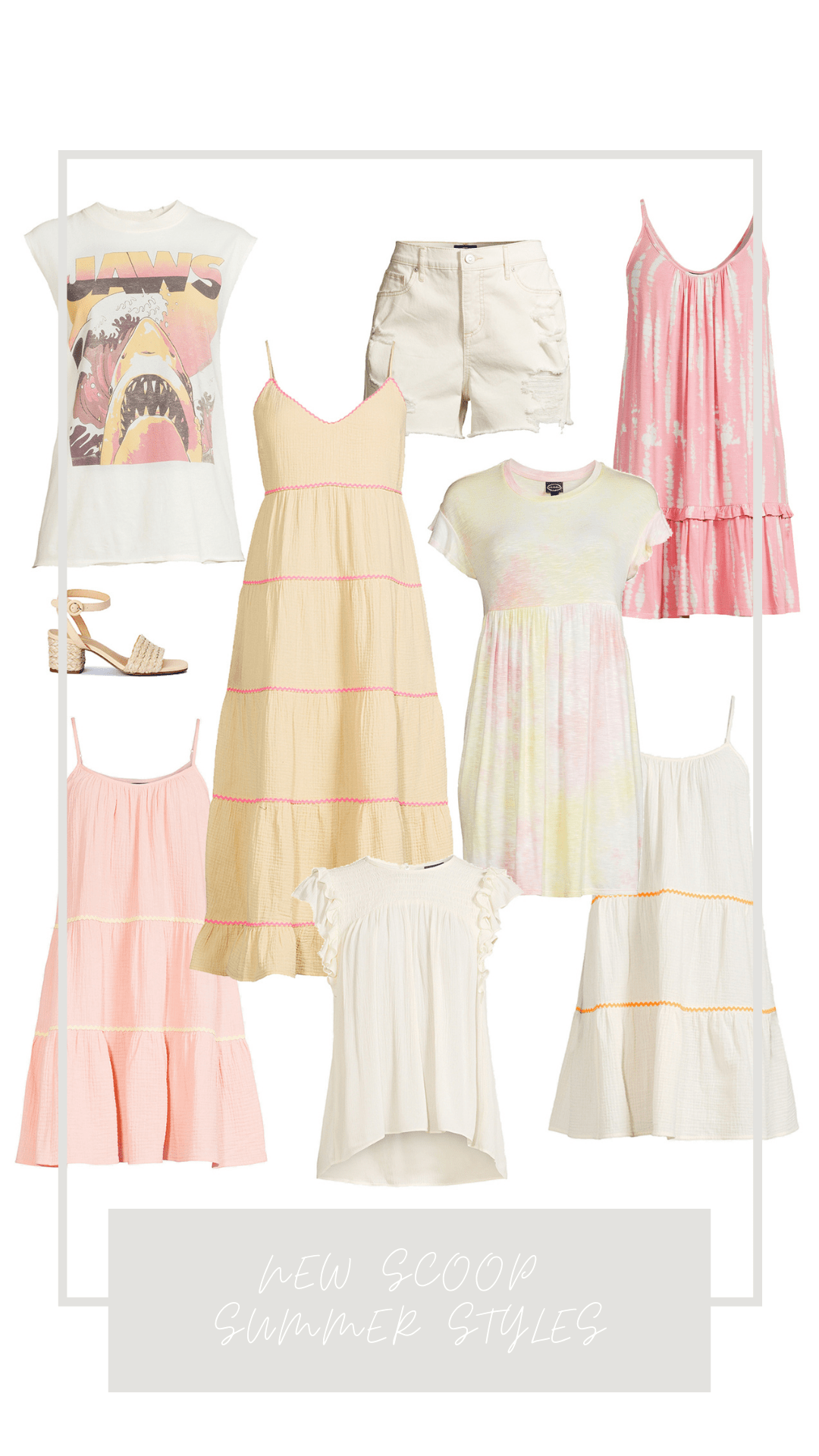 New Scoop Summer Styles - Dresses, graphic tees, jean shorts and more.