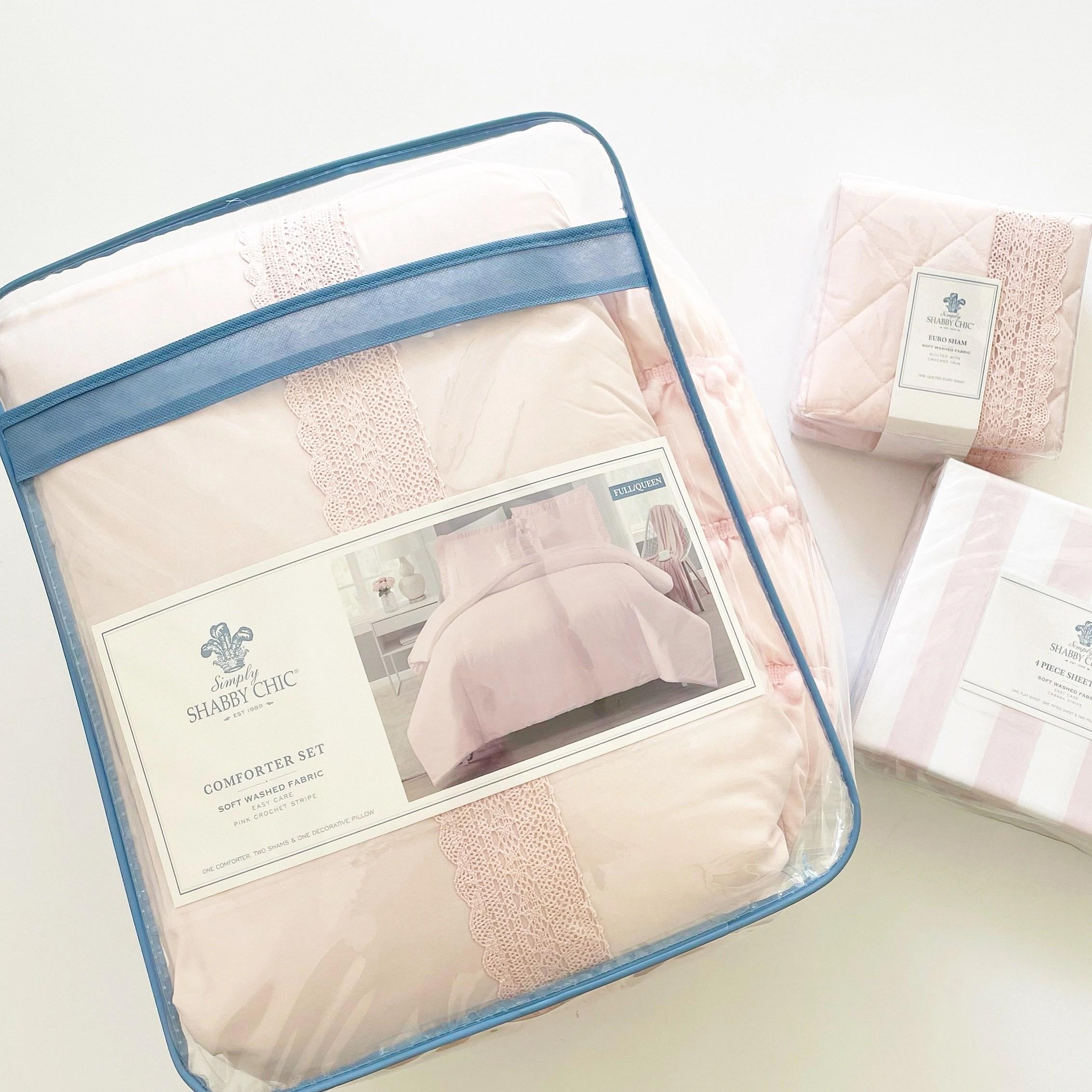 Simply Shabby Chic Reversible Crochet Comforter Set, Euro Sham and Cabana Stripe Sheet Set