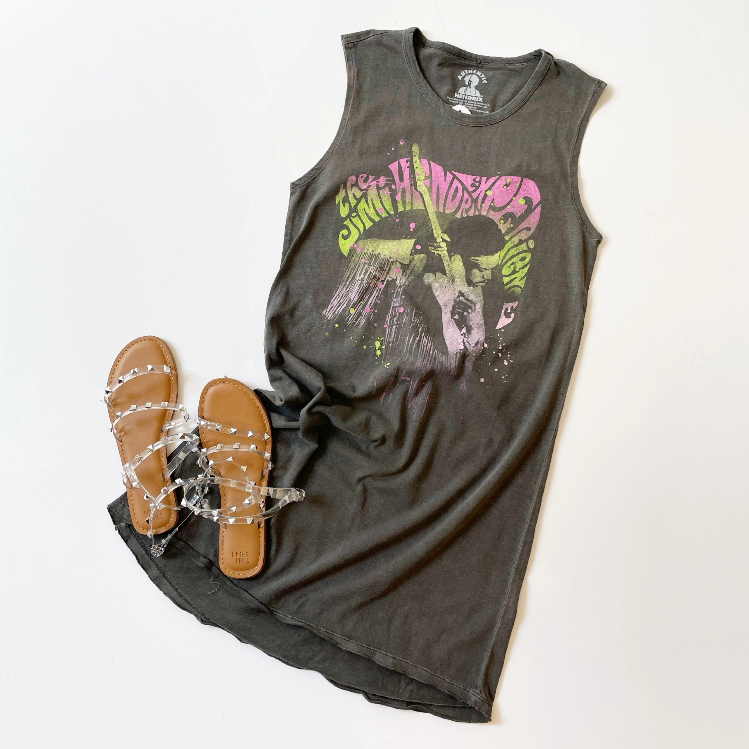 Scoop Jimi Hendrix Groove Sleeveless T-Shirt Dress and Time and Tru Studded Sandals