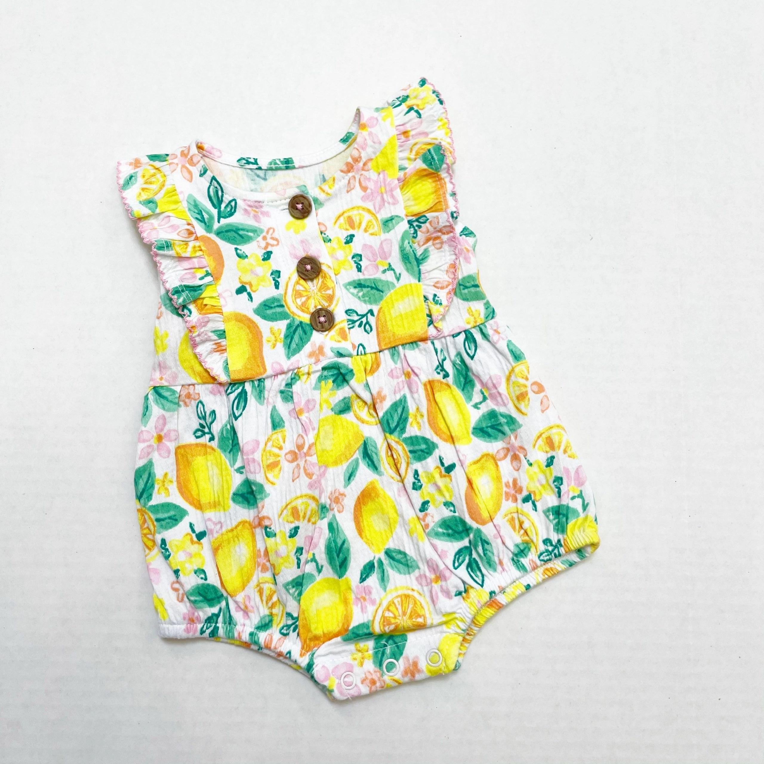 Wonder Nation Baby Girls Lemon Romper