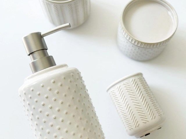 Better Homes & Gardens Reactive Glazed Textured Ceramic Soap Pump, Toothbrush Holder and Covered Jar in Creamy White