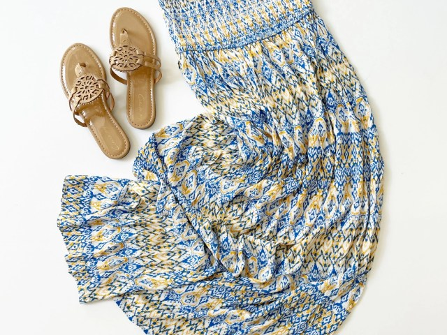 Scoop Strapless Smocked Tube Dress and Circus by Sam Edelman Carney Medallion Thong Sandal