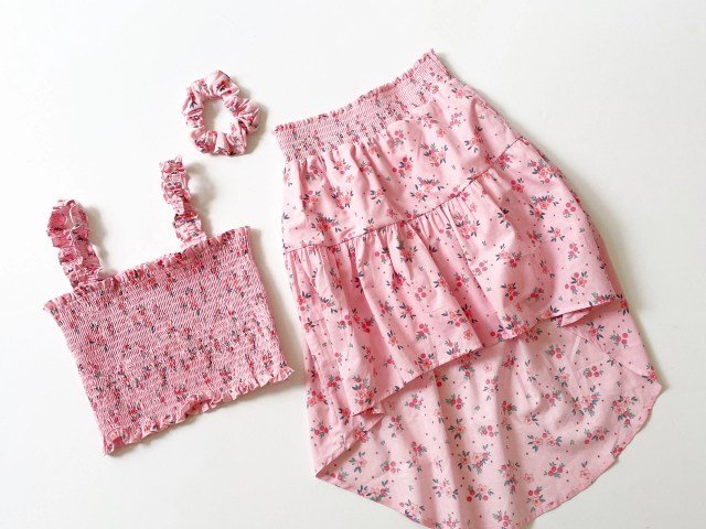 Theme by Ariella Girls Smocked Floral Tank and Matching High Low Skirt, 2-Piece Outfit Set With Matching Scrunchie