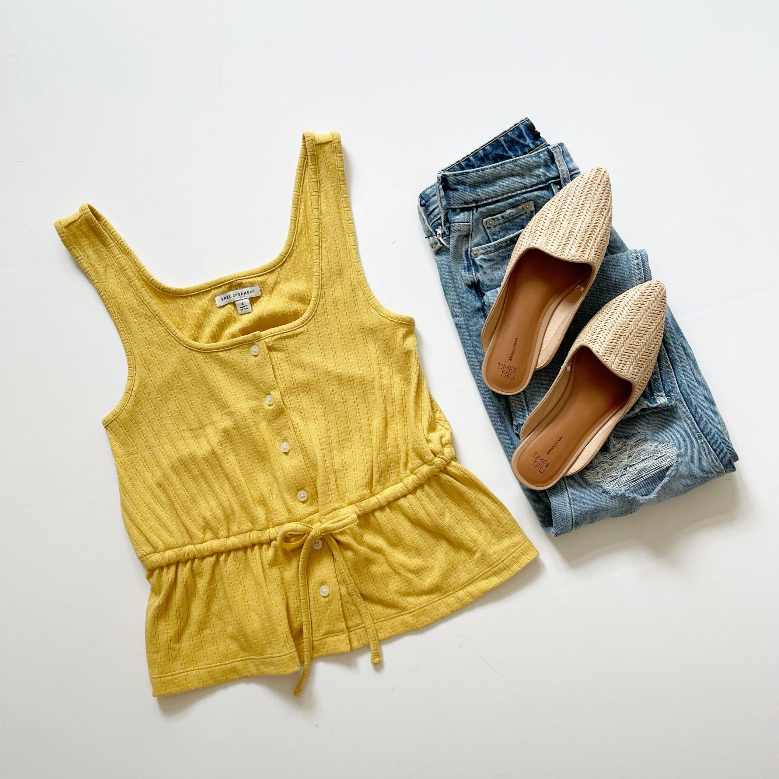 Free Assembly Button Front Peplum Tank Top, 90's Straight Jeans and Time and Tru Woven Mules
