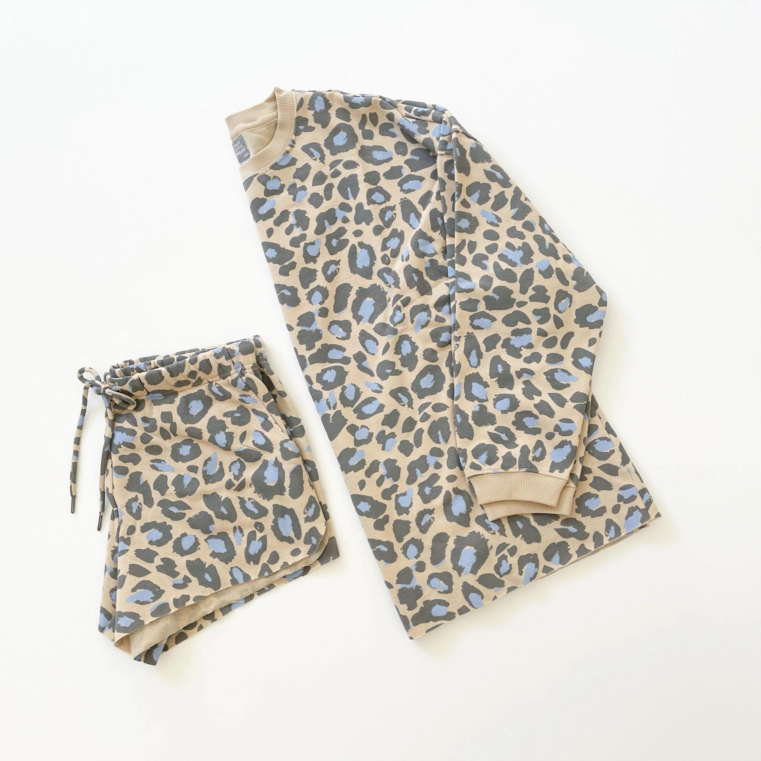 Peace, Love & Dreams Fleece earthen khaki and blue leopard print Sweatshirt and Shorts