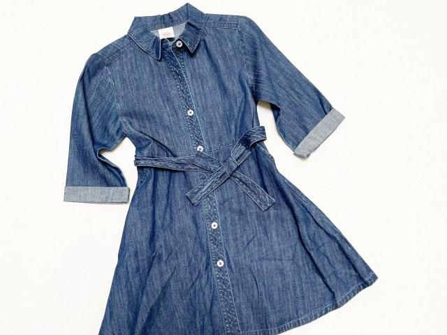 Wonder Nation Girls Denim Button Front Dress