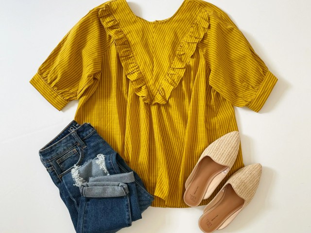Time and Tru Woven Top, No Boundaries Mom Jeans and Time and Tru Woven Mules